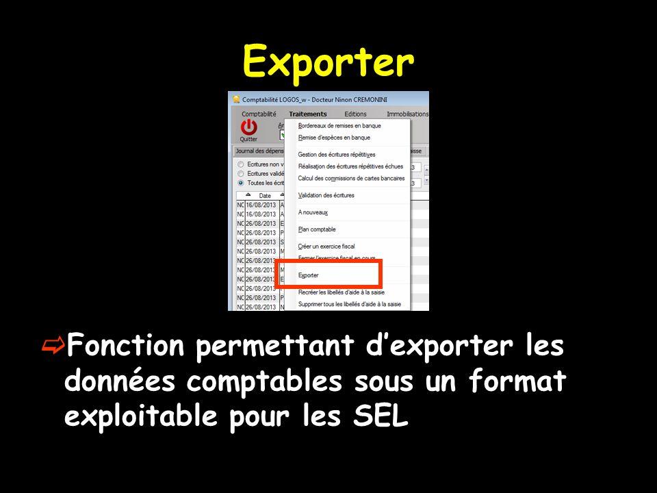 Exporter Fonction permettant dexporter les données comptables sous un format exploitable pour les SEL
