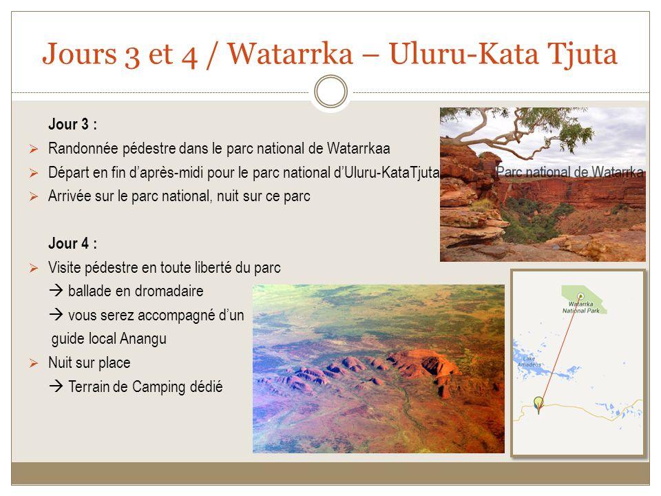 Jours 3 et 4 / Watarrka – Uluru-Kata Tjuta Jour 3 : Randonnée pédestre dans le parc national de Watarrkaa Départ en fin daprès-midi pour le parc national dUluru-KataTjuta Arrivée sur le parc national, nuit sur ce parc Jour 4 : Visite pédestre en toute liberté du parc ballade en dromadaire vous serez accompagné dun guide local Anangu Nuit sur place Terrain de Camping dédié