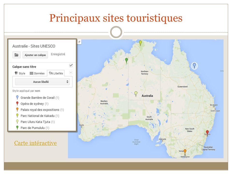 Principaux sites touristiques Carte intéractive