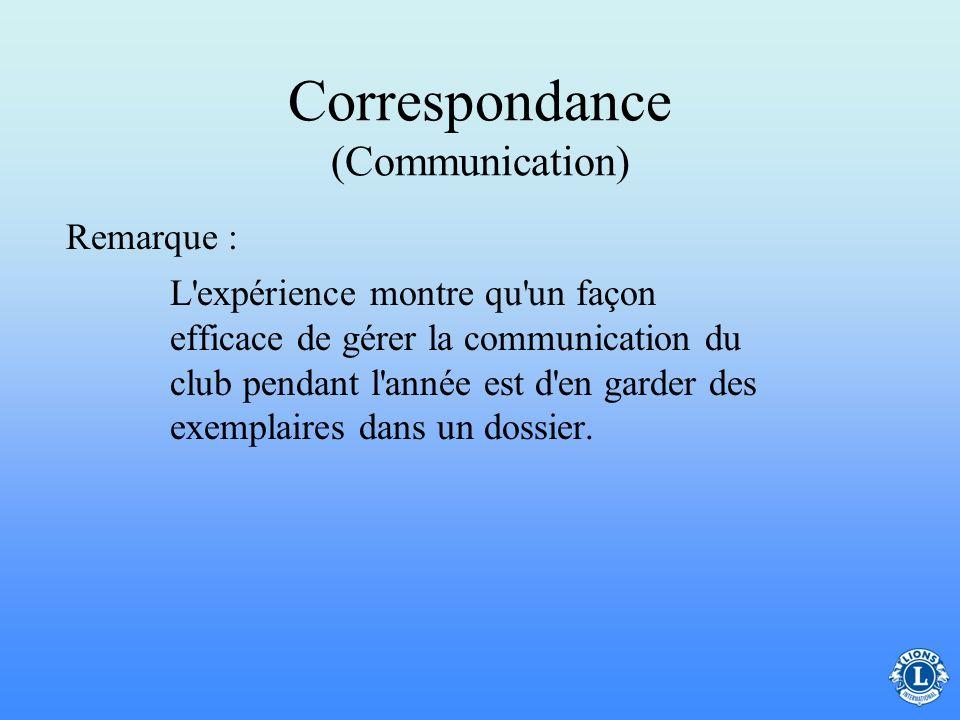Correspondance (Communication) –L'organisation est très importante pour la fonction de secrétaire de club puisqu'il sert de source d'informations du c