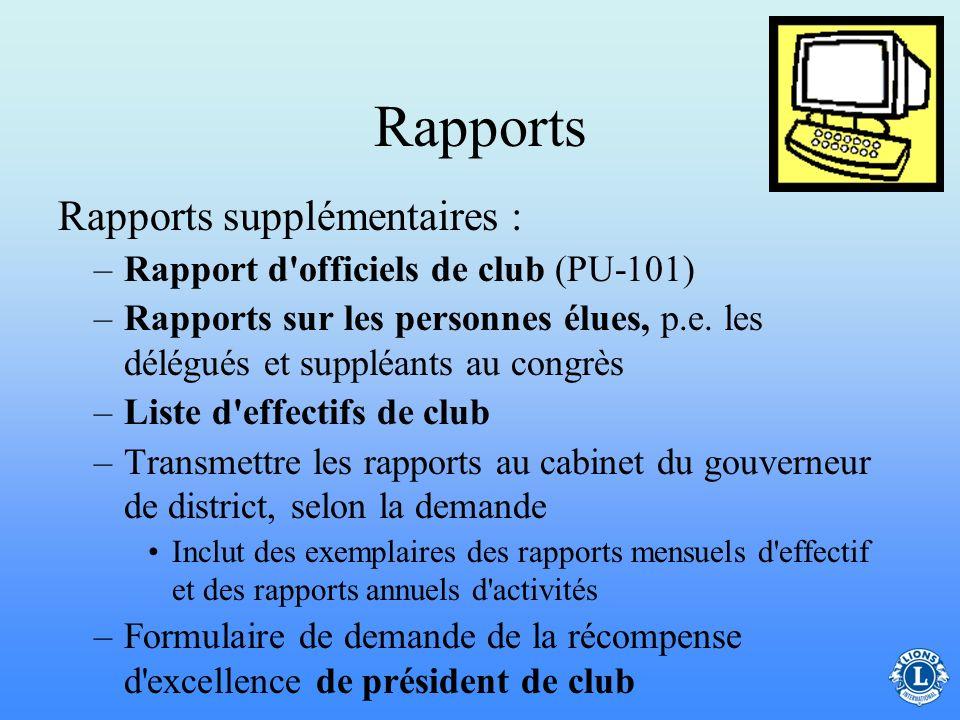 Rapports –Rapport mensuel d'effectif –Rapport d'activités (A-1) –Les rapports exigés par l'association Rapport sur les membres fondateurs Formulaire d