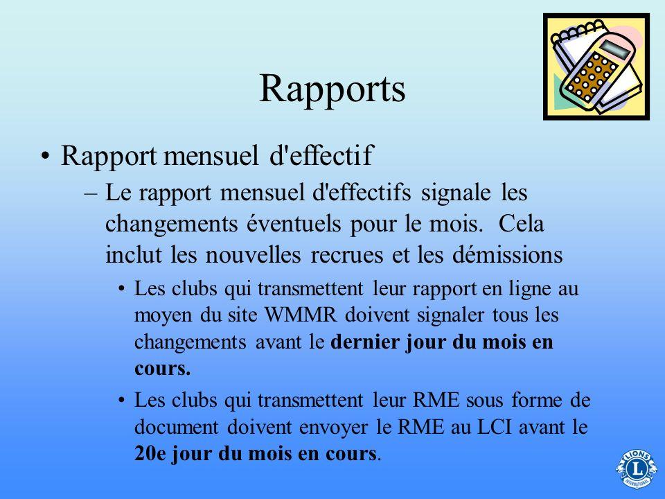 Rapports –Nécrologie - rapport sur le décès des membres –Rapports oraux (concis, factuels et pertinents) suivant les demandes du président de club Cer