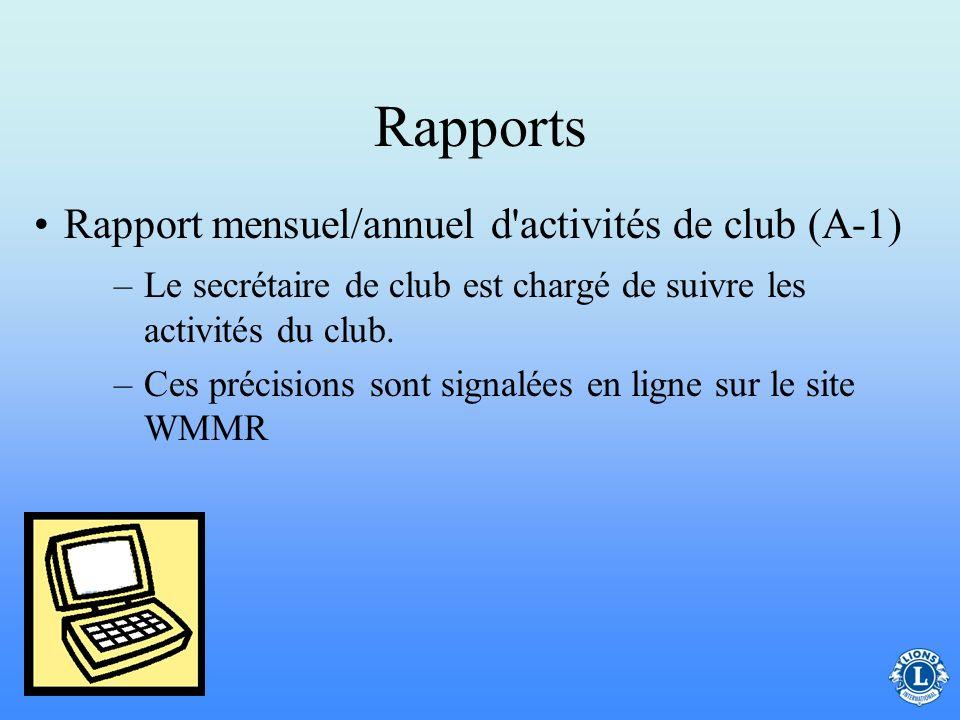 Rapports –Le rapport mensuel d'effectifs signale les changements éventuels pour le mois. Cela inclut les nouvelles recrues et les démissions Les clubs