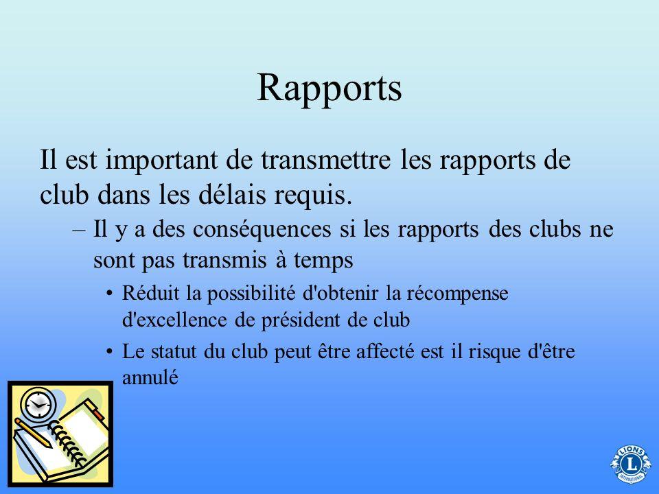 Rapports –Identifie tous les membres du club et leurs coordonnées –Il faut que les informations soient à jour Liste d'effectifs de club