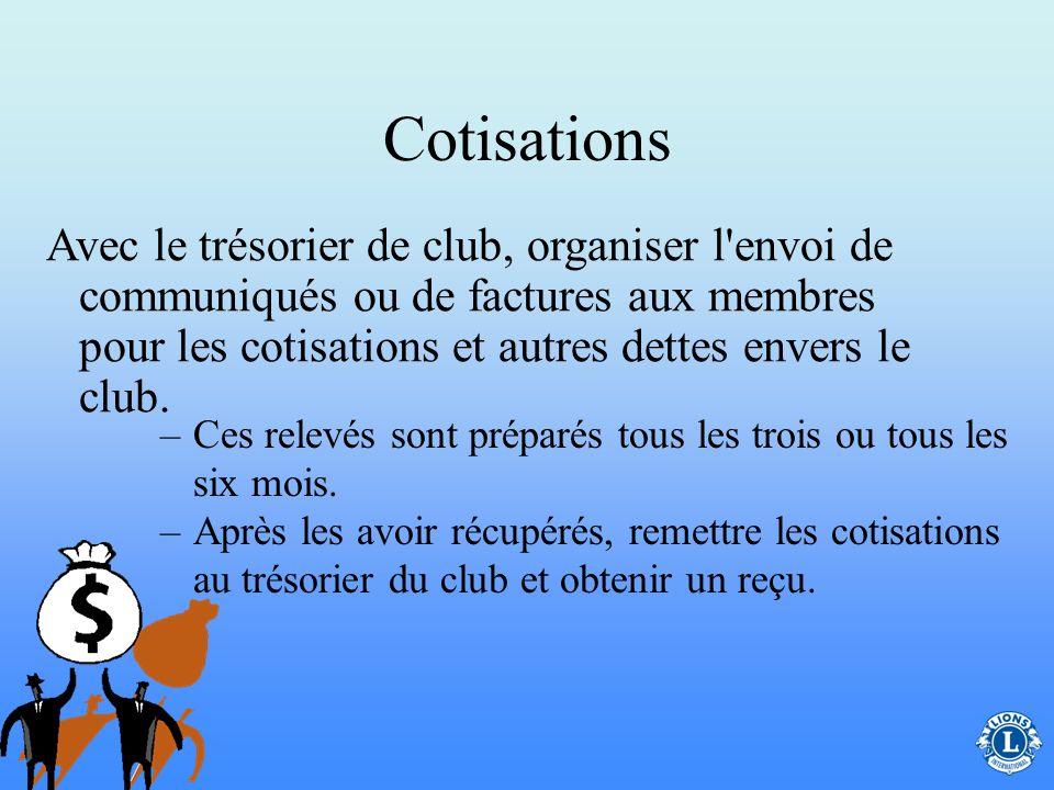 Cotisations Le secrétaire de club collabore avec le trésorier de club pour récupérer les cotisations de club.