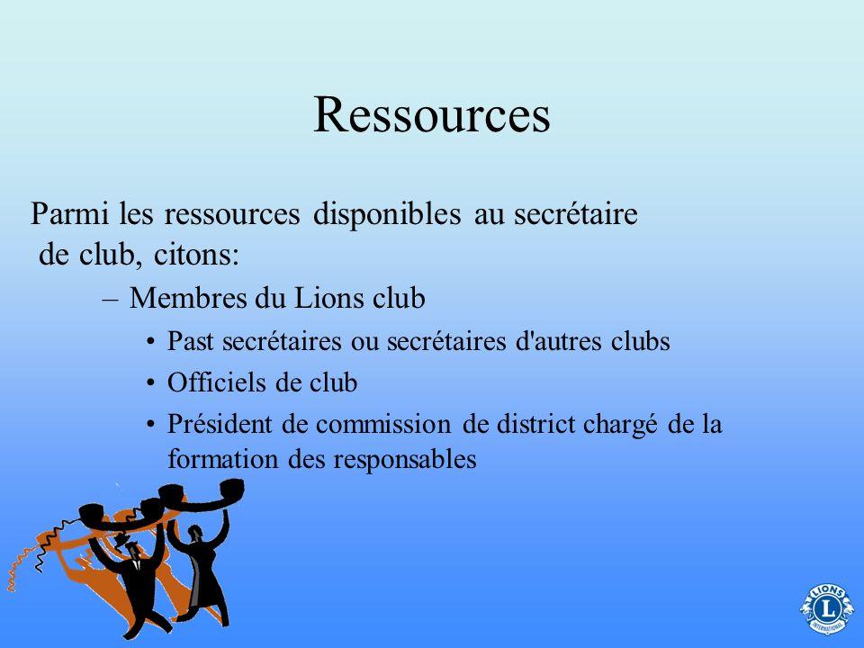 Ressources Pendant toute l'année, le secrétaire de club peut avoir des questions ou avoir besoin de conseils pour assumer sa fonction efficacement.