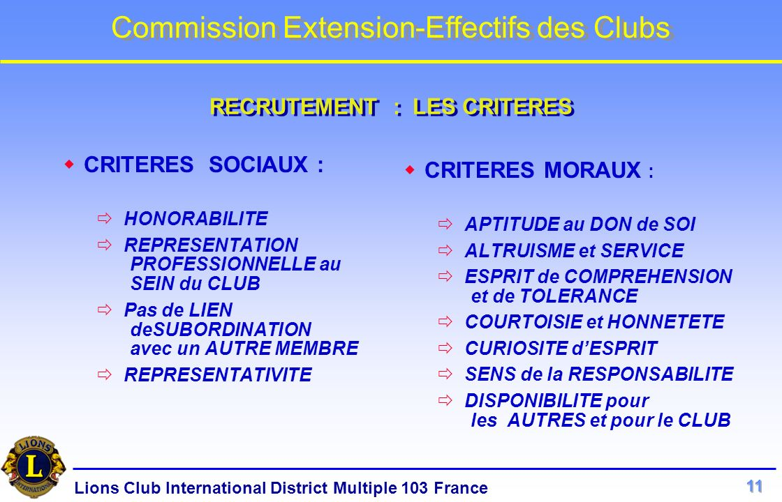 Lions Club International District Multiple 103 France Commission Extension-Effectifs des Clubs CRITERES SOCIAUX : HONORABILITE REPRESENTATION PROFESSI