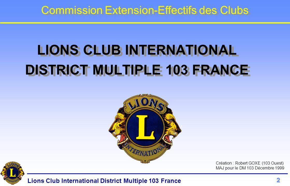 Lions Club International District Multiple 103 France Commission Extension-Effectifs des Clubs PROPOSITION ECRITE au PRESIDENT du CLUB.