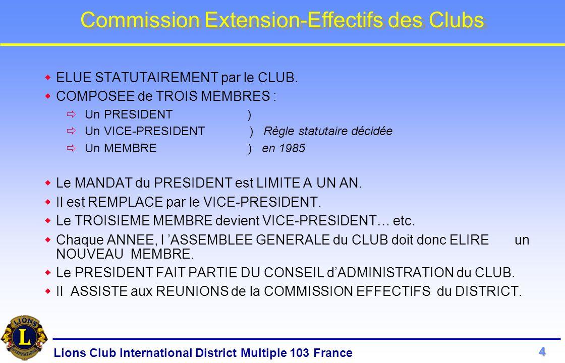 Lions Club International District Multiple 103 France Commission Extension-Effectifs des Clubs Si pas d OPPOSITION dans le DELAI IMPARTI : Le PRESIDENT AVISE le CLUB de l ACCOMPLISSEMENT REGULIER des FORMALITES et de lACCORD de PRINCIPE DONNE à la CANDIDATURE PROPOSEE.