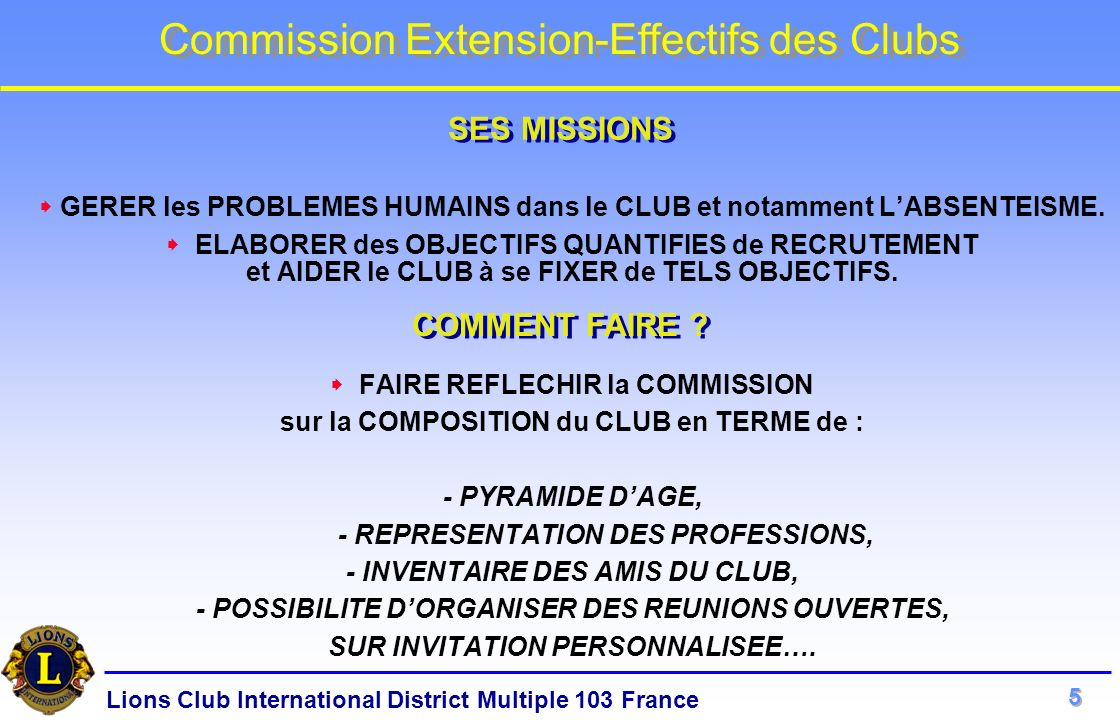 Lions Club International District Multiple 103 France Commission Extension-Effectifs des Clubs GERER les PROBLEMES HUMAINS dans le CLUB et notamment L