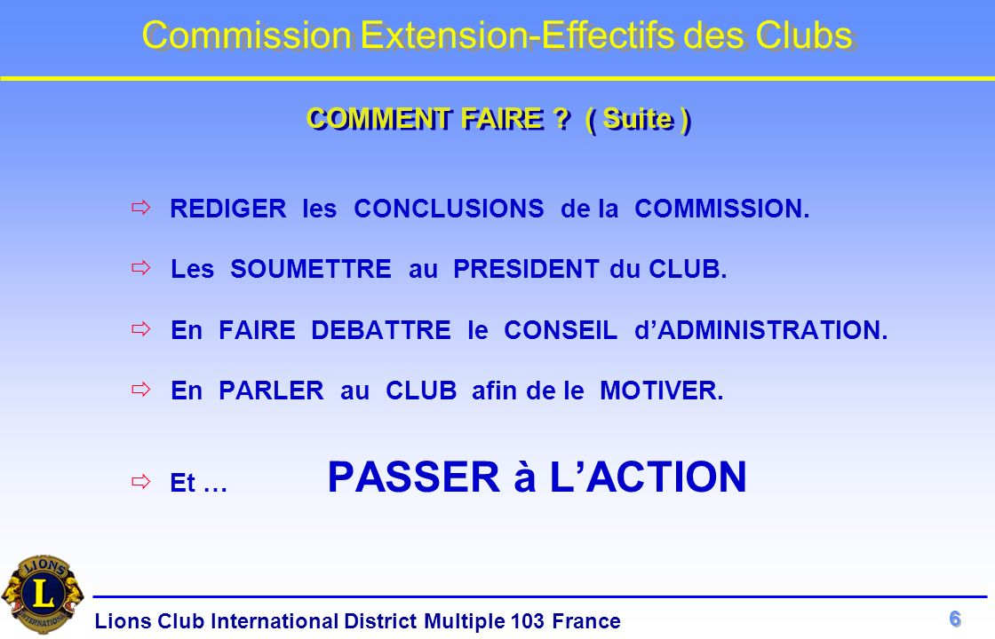 Lions Club International District Multiple 103 France Commission Extension-Effectifs des Clubs REDIGER les CONCLUSIONS de la COMMISSION. Les SOUMETTRE