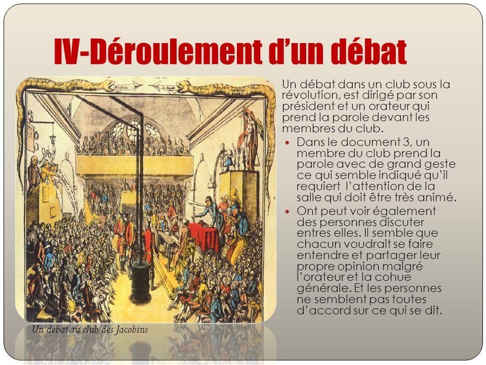 IV-Déroulement dun débat Un débat dans un club sous la révolution, est dirigé par son président et un orateur qui prend la parole devant les membres d