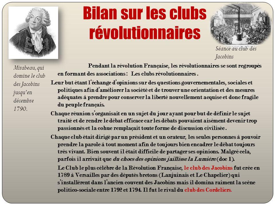 Bilan sur les clubs révolutionnaires Pendant la révolution Française, les révolutionnaires se sont regroupés en formant des associations : Les clubs r