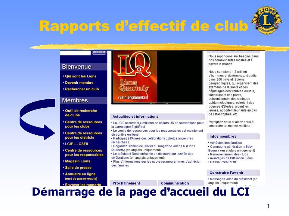 1 Rapports deffectif de club D é marrage de la page d accueil du LCI