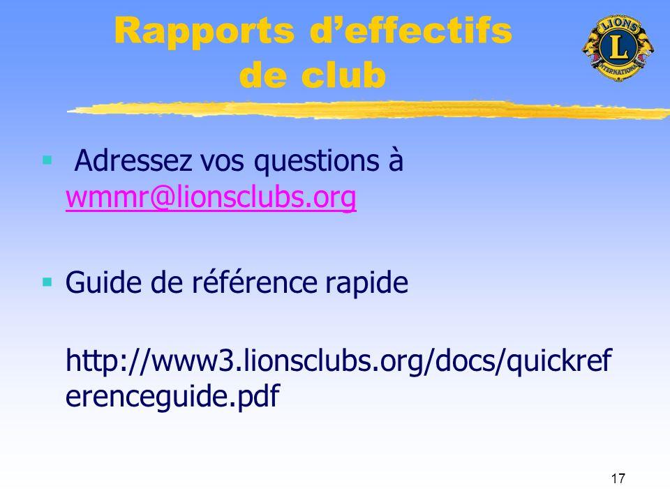 17 Rapports deffectifs de club Adressez vos questions à wmmr@lionsclubs.org wmmr@lionsclubs.org Guide de référence rapide http://www3.lionsclubs.org/docs/quickref erenceguide.pdf