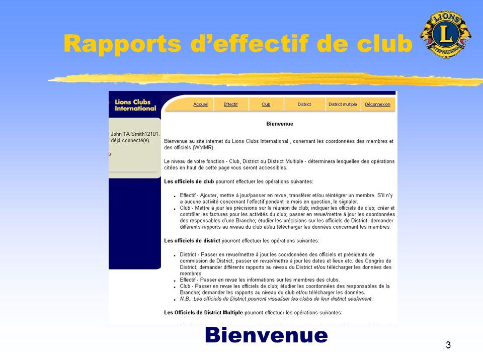 14 Rapports deffectif de club Page dadmin. du club