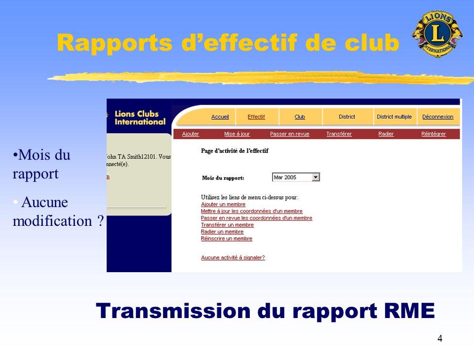 4 Rapports deffectif de club Transmission du rapport RME Mois du rapport Aucune modification