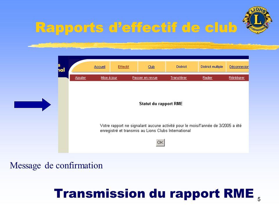 6 Rapports deffectif de club Ajout ou retrait dun adhérent