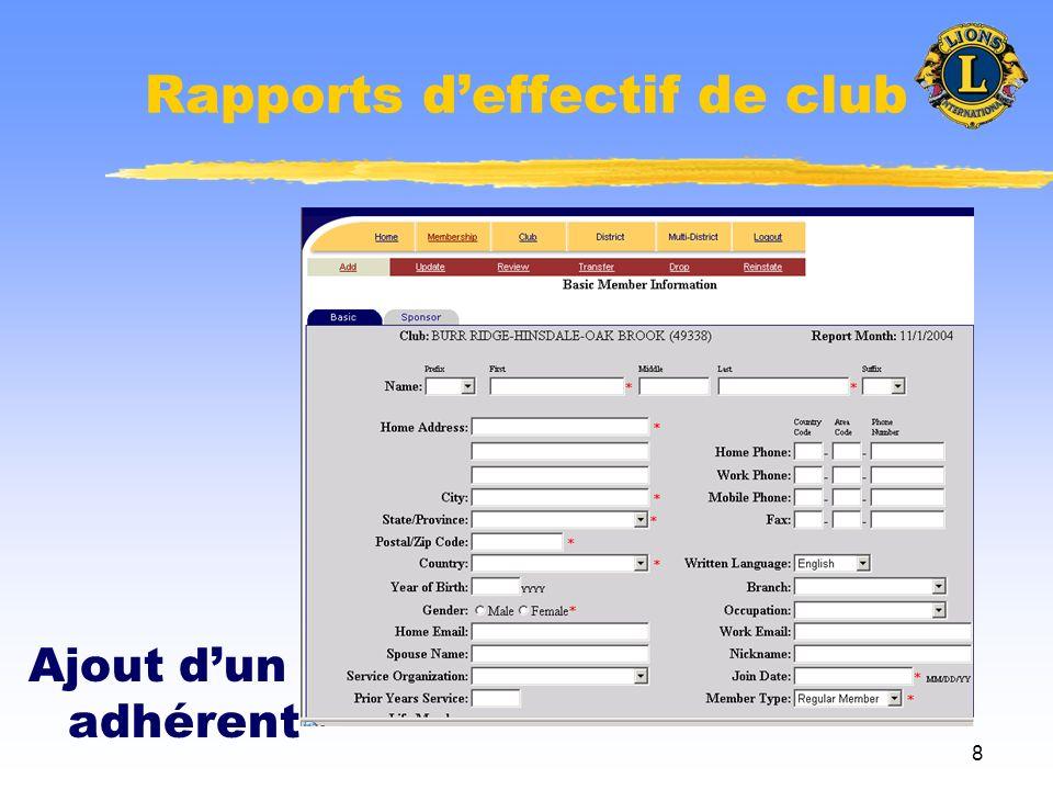 9 Rapports deffectif de club Retrait dun adhérent