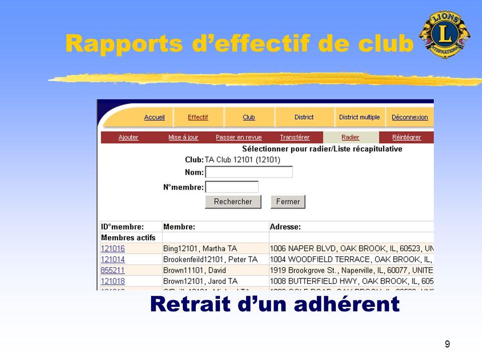 10 Rapports deffectif de club Réinscription dun adhérent