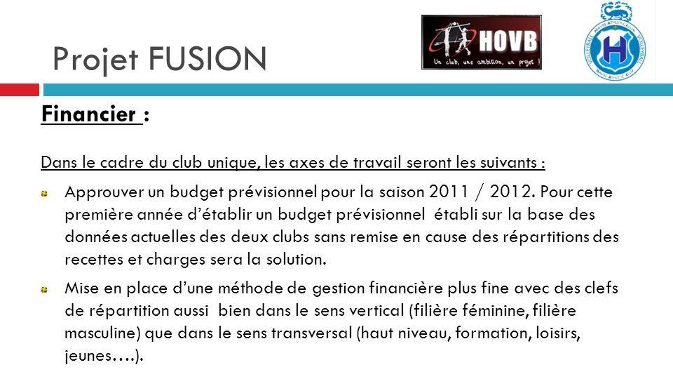 Projet FUSION Financier : Dans le cadre du club unique, les axes de travail seront les suivants : Approuver un budget prévisionnel pour la saison 2011 / 2012.