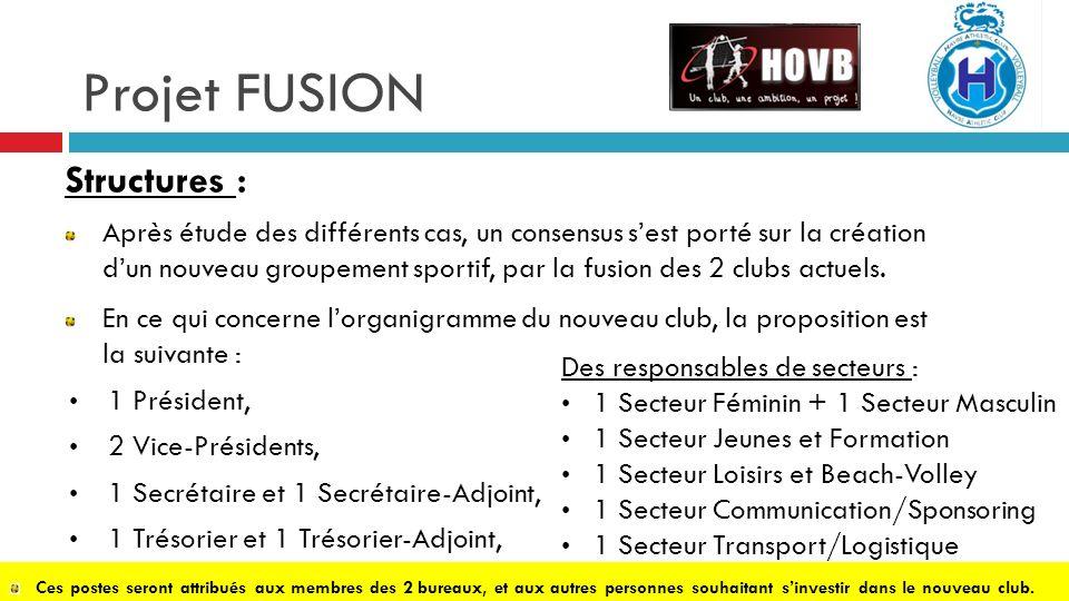 Projet FUSION Structures : Après étude des différents cas, un consensus sest porté sur la création dun nouveau groupement sportif, par la fusion des 2 clubs actuels.