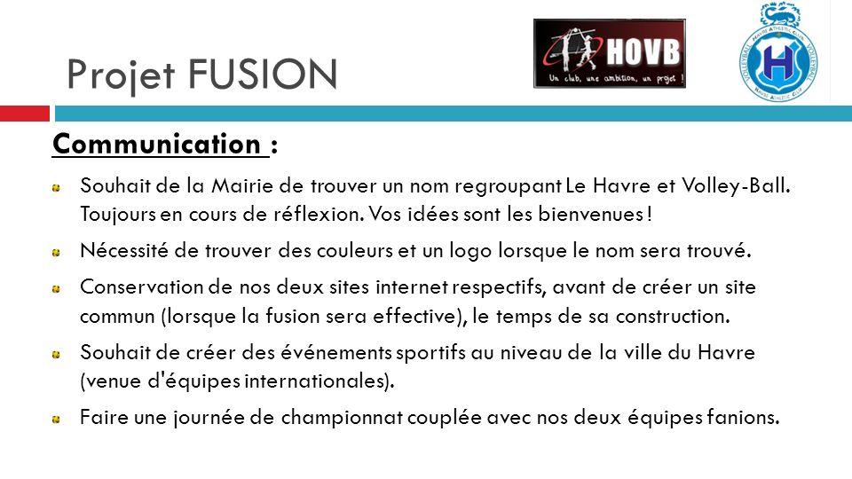Projet FUSION Communication : Souhait de la Mairie de trouver un nom regroupant Le Havre et Volley-Ball.