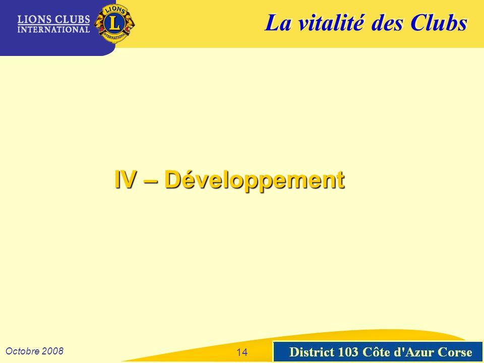 La vitalité des Clubs District 103 Sud-Est Octobre 2008 14 IV – Développement