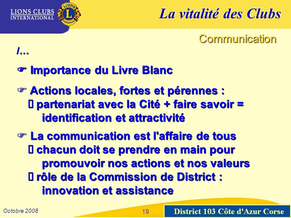La vitalité des Clubs District 103 Sud-Est Octobre 2008 19 Communication /… Importance du Livre Blanc Importance du Livre Blanc Actions locales, forte