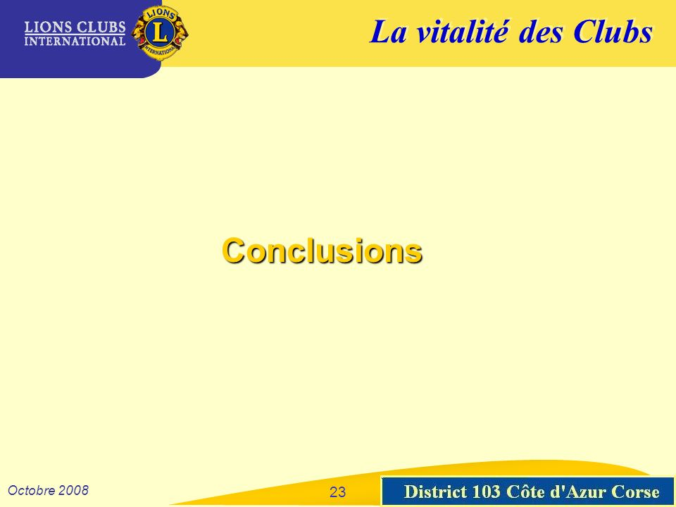La vitalité des Clubs District 103 Sud-Est Octobre 2008 23 Conclusions