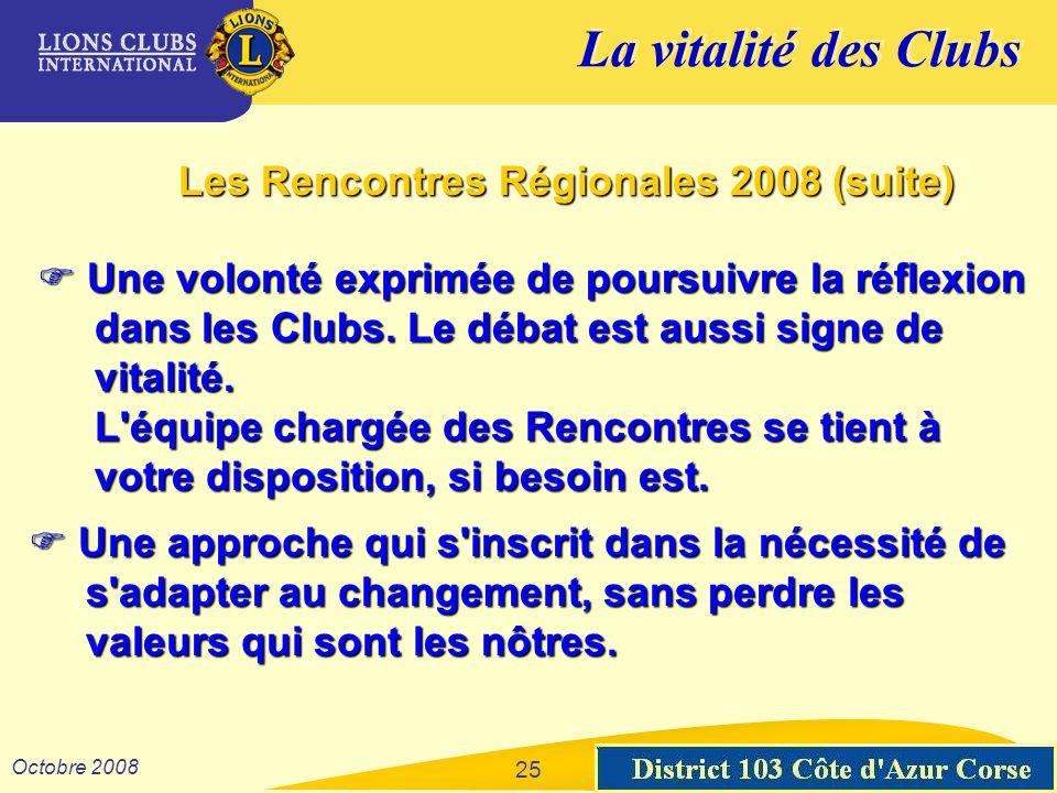 La vitalité des Clubs District 103 Sud-Est Octobre 2008 25 Les Rencontres Régionales 2008 (suite) Une volonté exprimée de poursuivre la réflexion Une volonté exprimée de poursuivre la réflexion dans les Clubs.