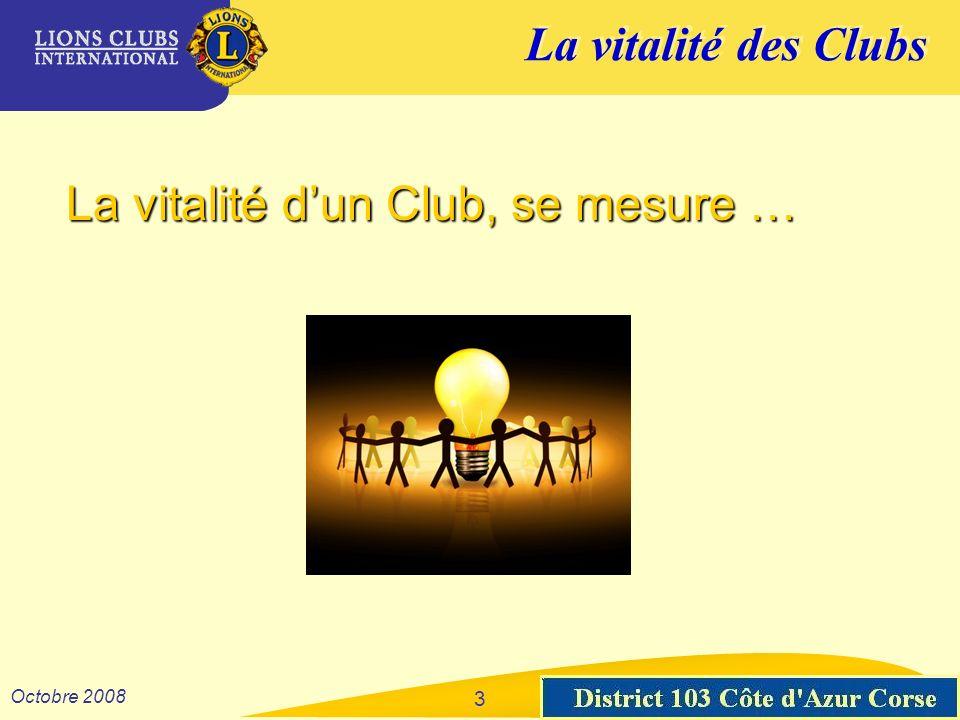 La vitalité des Clubs District 103 Sud-Est Octobre 2008 4 à la qualité de son organisation.