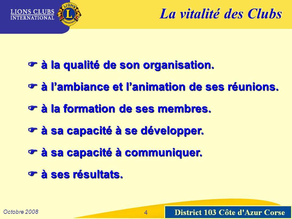 La vitalité des Clubs District 103 Sud-Est Octobre 2008 4 à la qualité de son organisation. à la qualité de son organisation. à lambiance et lanimatio
