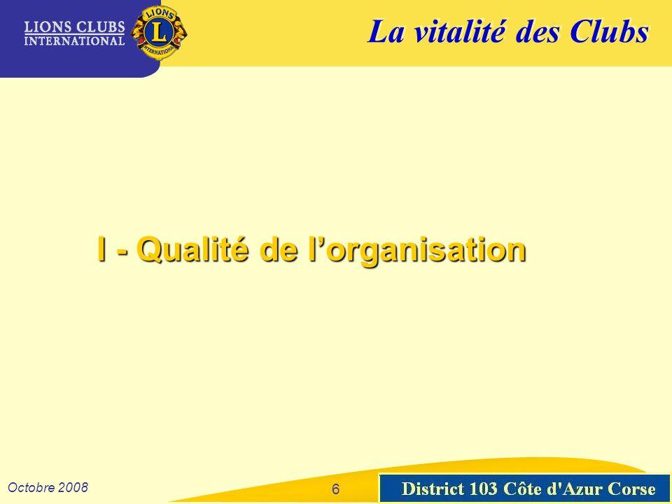 La vitalité des Clubs District 103 Sud-Est Octobre 2008 I - Qualité de lorganisation 6