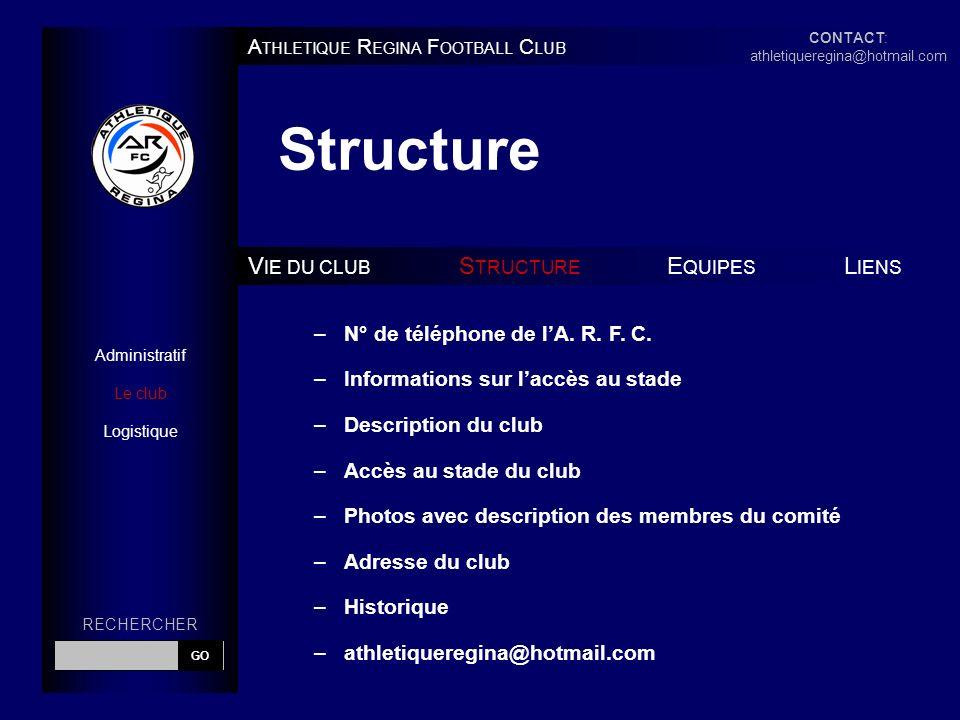 Structure A THLETIQUE R EGINA F OOTBALL C LUB V IE DU CLUB S TRUCTURE E QUIPES L IENS Administratif Le club Logistique –N° de téléphone de lA.