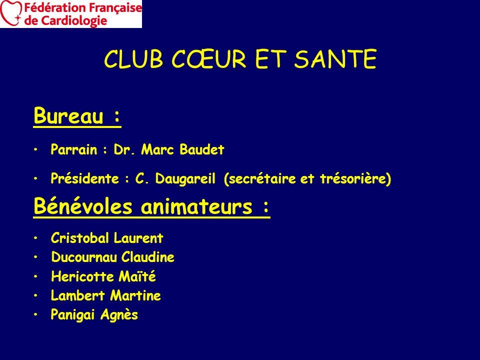 CLUB CŒUR ET SANTE Bureau : Parrain : Dr. Marc Baudet Présidente : C. Daugareil (secrétaire et trésorière) Bénévoles animateurs : Cristobal Laurent Du