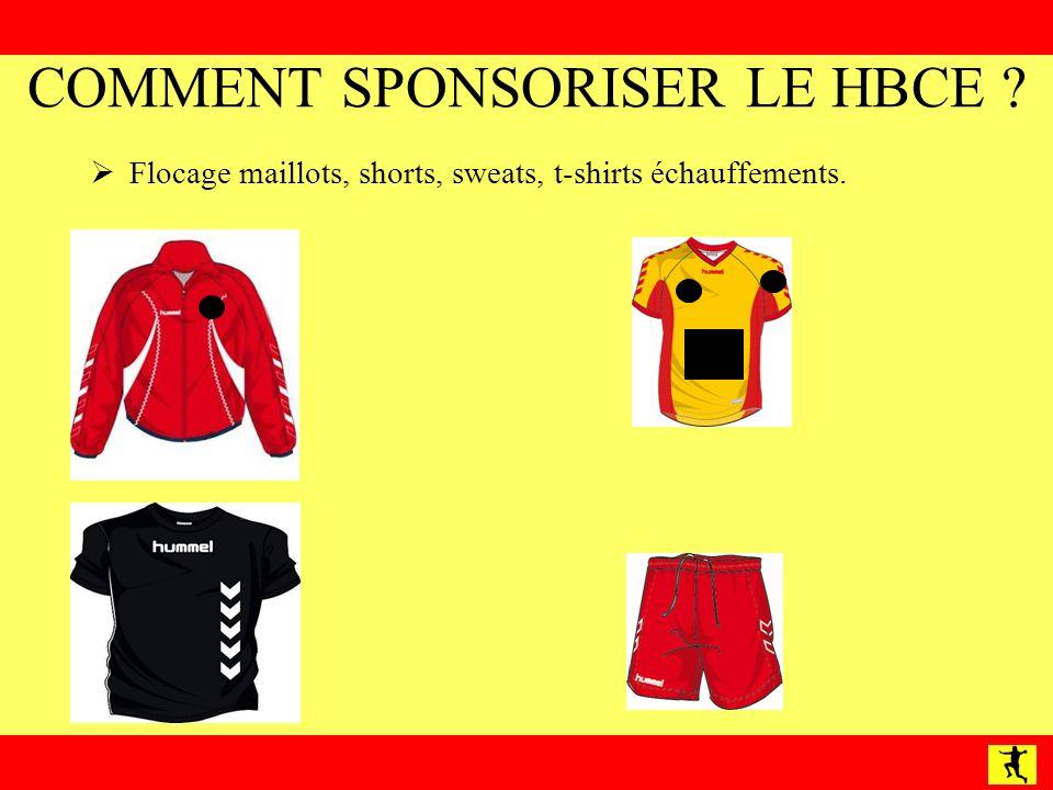 COMMENT SPONSORISER LE HBCE ? Flocage maillots, shorts, sweats, t-shirts échauffements.