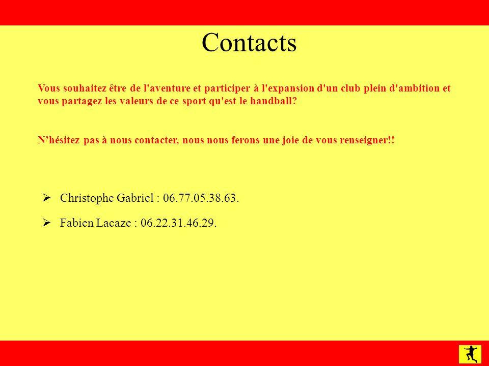 Contacts Christophe Gabriel : 06.77.05.38.63.Fabien Lacaze : 06.22.31.46.29.