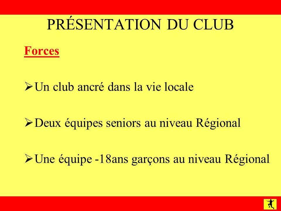 PRÉSENTATION DU CLUB Forces Un club ancré dans la vie locale Deux équipes seniors au niveau Régional Une équipe -18ans garçons au niveau Régional