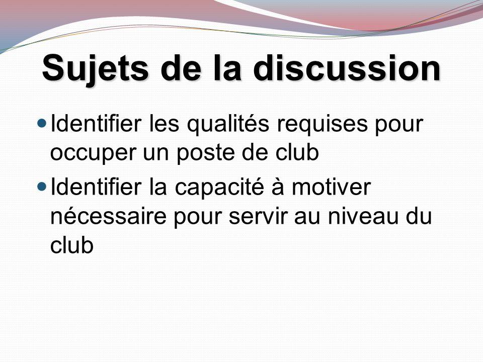 Identifier les qualités requises pour occuper un poste de club Identifier la capacité à motiver nécessaire pour servir au niveau du club Sujets de la discussion