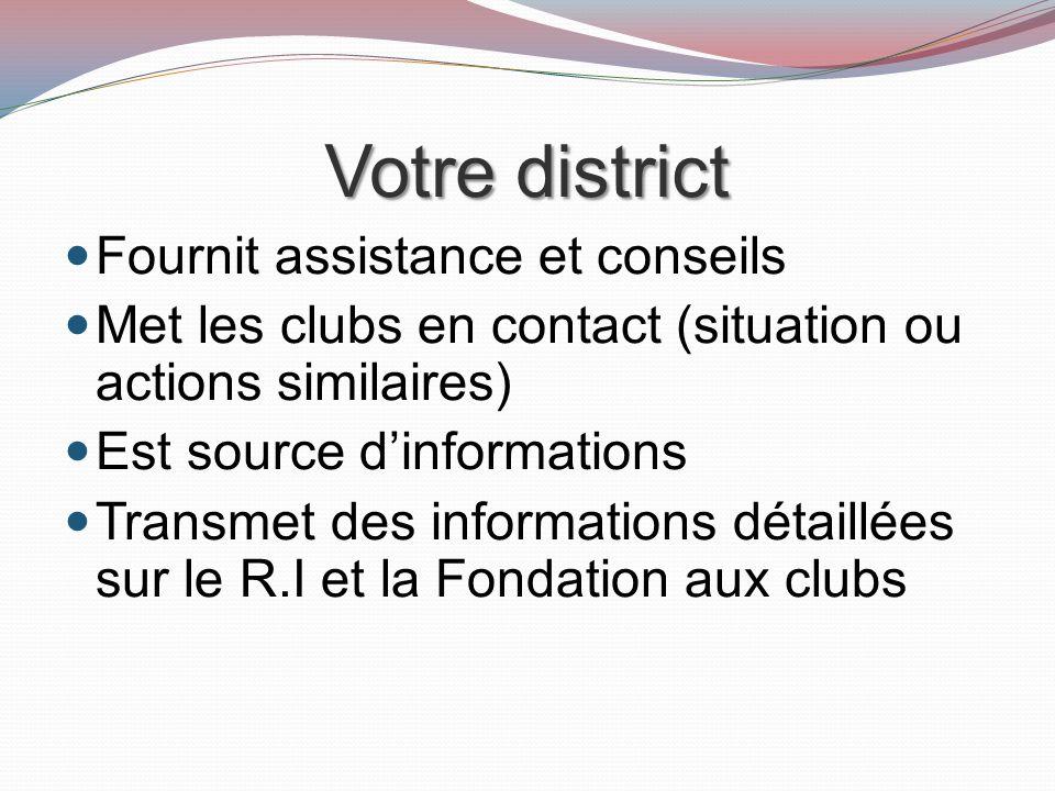 Votre district Fournit assistance et conseils Met les clubs en contact (situation ou actions similaires) Est source dinformations Transmet des informations détaillées sur le R.I et la Fondation aux clubs