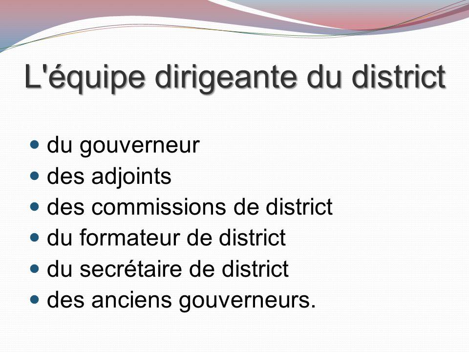L équipe dirigeante du district du gouverneur des adjoints des commissions de district du formateur de district du secrétaire de district des anciens gouverneurs.