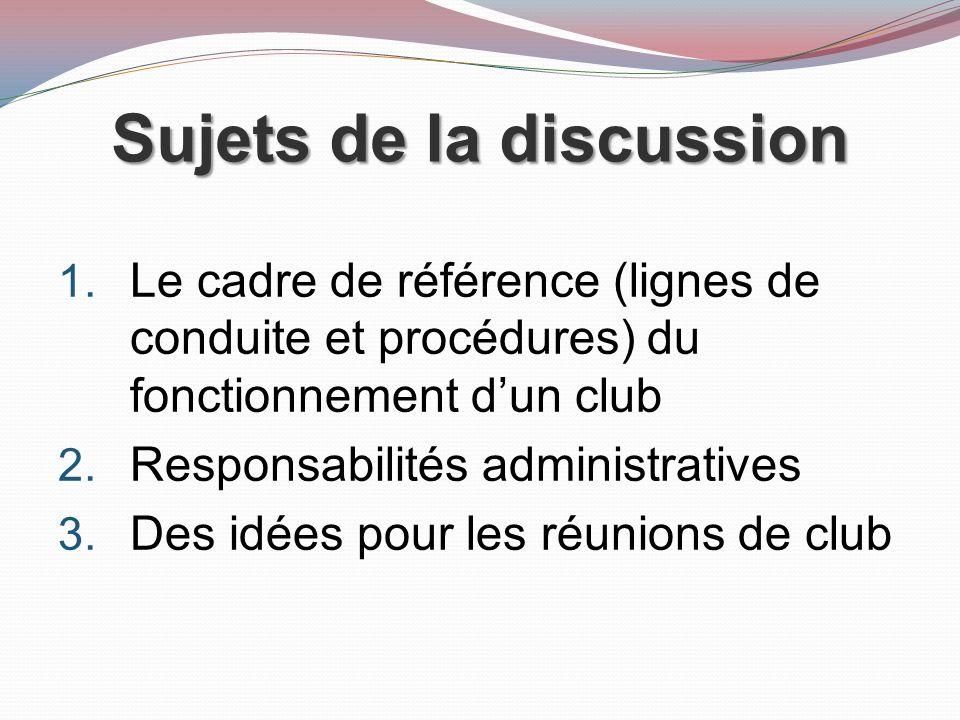 Sujets de la discussion 1.