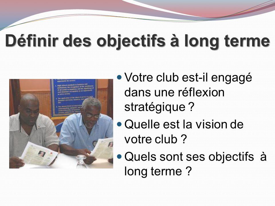 Définir des objectifs à long terme Votre club est-il engagé dans une réflexion stratégique .