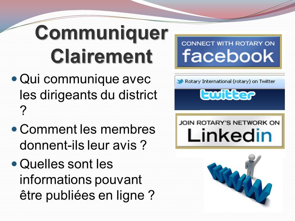 Communiquer Clairement Qui communique avec les dirigeants du district .