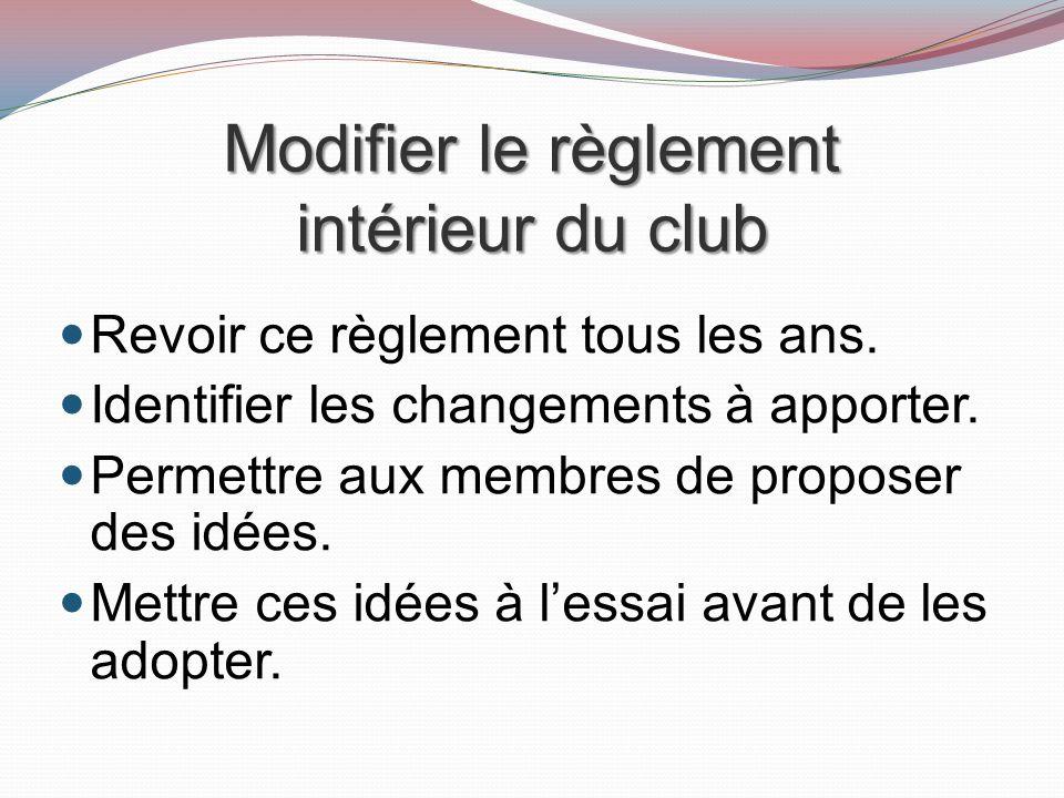 Modifier le règlement intérieur du club Revoir ce règlement tous les ans.