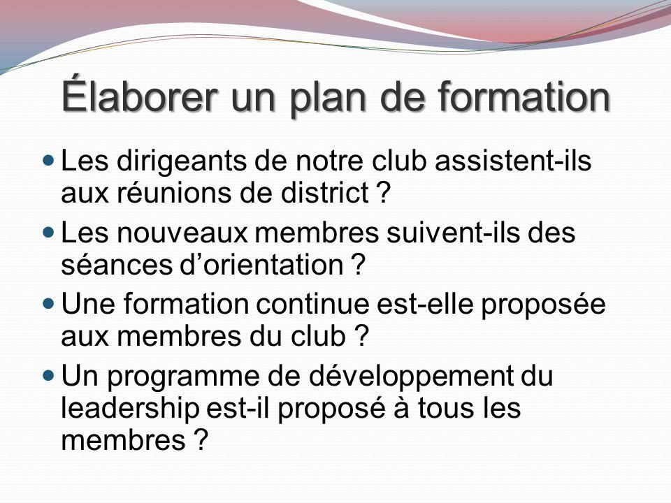 Élaborer un plan de formation Les dirigeants de notre club assistent-ils aux réunions de district .