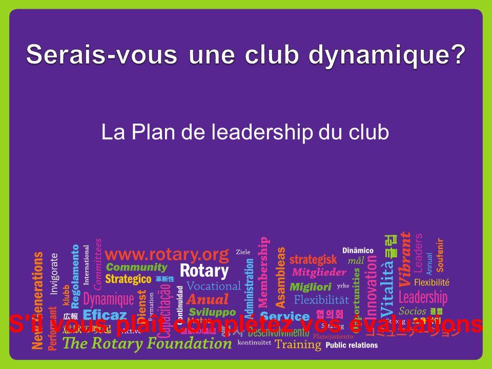 La Plan de leadership du club S il vous plaît complétez vos évaluations