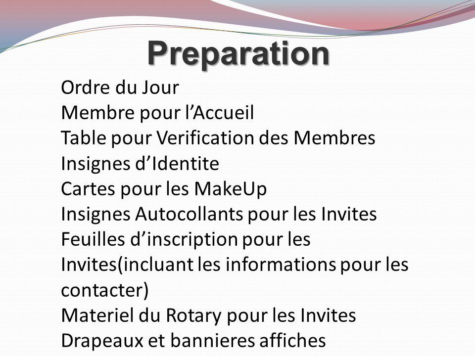 Preparation Ordre du Jour Membre pour lAccueil Table pour Verification des Membres Insignes dIdentite Cartes pour les MakeUp Insignes Autocollants pour les Invites Feuilles dinscription pour les Invites(incluant les informations pour les contacter) Materiel du Rotary pour les Invites Drapeaux et bannieres affiches
