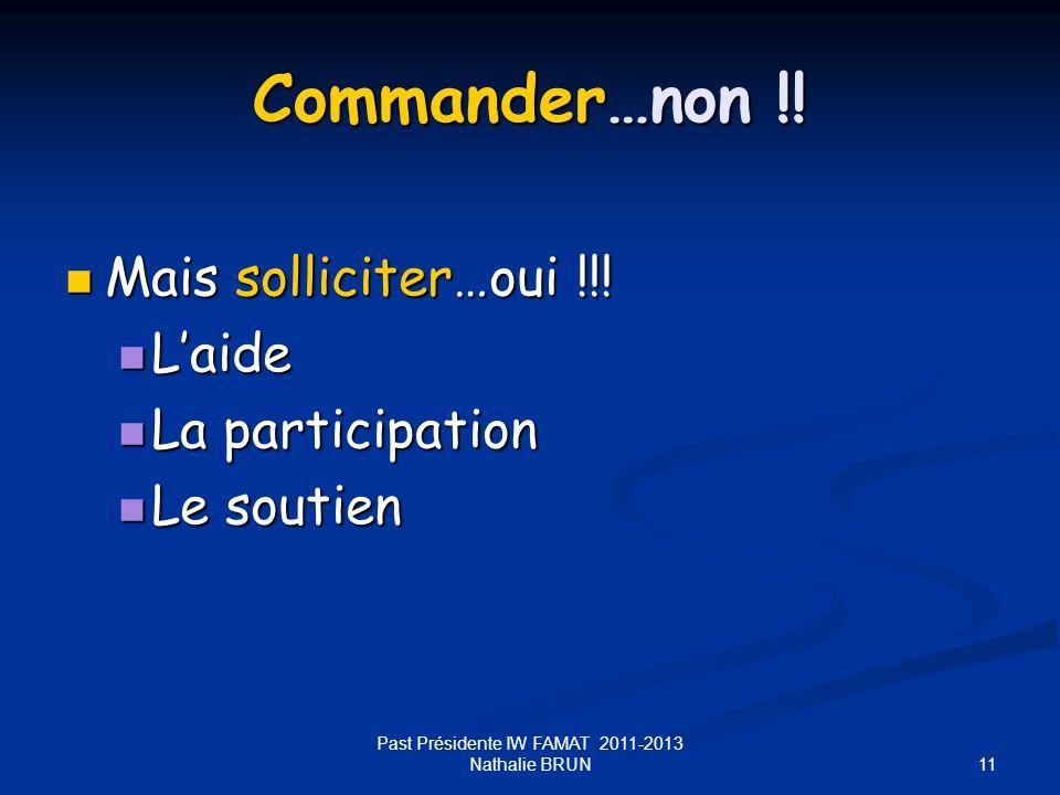 11 Commander…non !! Mais solliciter…oui !!! Mais solliciter…oui !!! Laide Laide La participation La participation Le soutien Le soutien Past Président